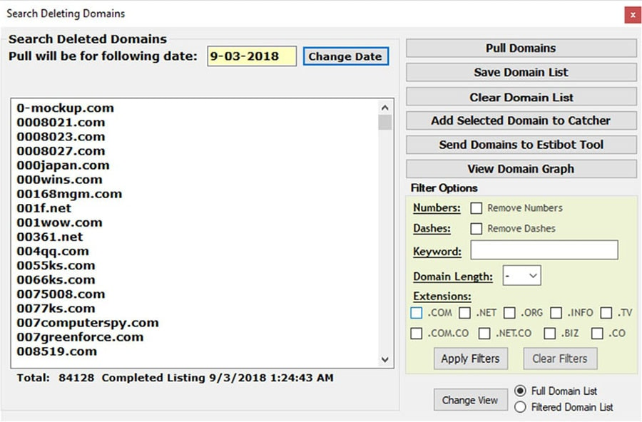 Search Deleting Domains Screenshot